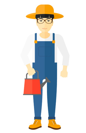 asian farmer: An asian farmer holding a watering can vector flat design illustration isolated on white background.