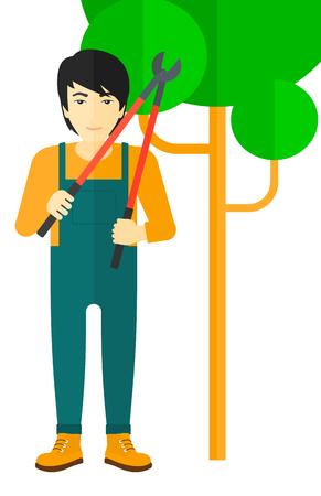 obrero caricatura: Un agricultor asi�tica sosteniendo una ilustraci�n dise�o plano podadora vectorial aislados en fondo blanco.