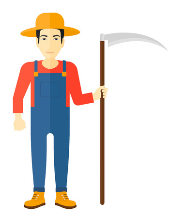 asian farmer: An asian farmer holding a scythe vector flat design illustration isolated on white background.