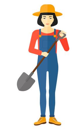 asian farmer: An asian farmer holding a spade vector flat design illustration isolated on white background. Illustration