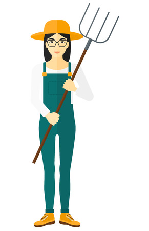 villager: An asian farmer standing with a pitchfork vector flat design illustration isolated on white background.