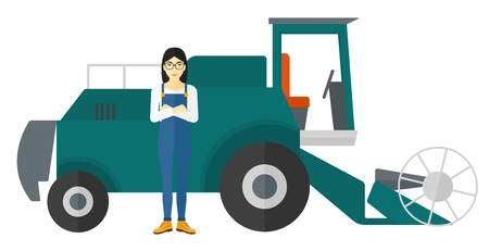 peasant woman: An asian woman standing with a combine on a background vector flat design illustration isolated on white background.