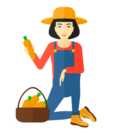 asian farmer: An asian farmer collecting carrots in basket vector flat design illustration isolated on white background.