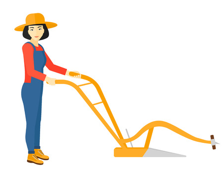 furrow: An asian farmer using a plough vector flat design illustration isolated on white background.