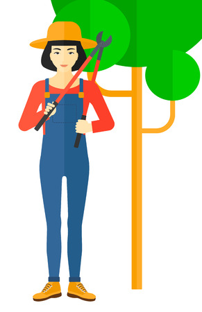 pruner: An asian farmer holding a pruner vector flat design illustration isolated on white background.