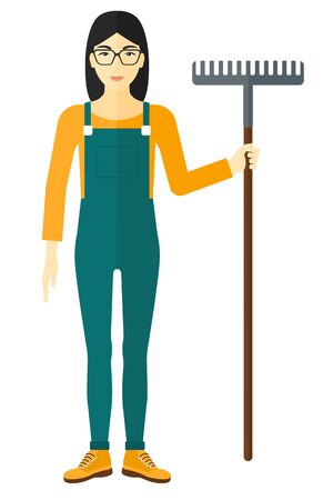asian farmer: An asian farmer standing with a rake vector flat design illustration isolated on white background.