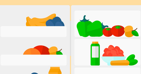 Background of  refrigerator full of fruits and vegetables vector flat design illustration. Horizontal layout.