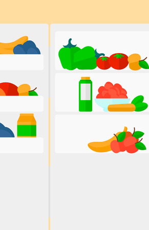 Background of  refrigerator full of fruits and vegetables vector flat design illustration. Vertical layout.