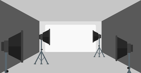 strobe light: Background of empty photo studio with lighting equipment vector flat design illustration. Horizontal layout.
