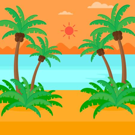 arboles frutales: Antecedentes de la playa tropical con palmeras y la ilustraci�n vectorial dise�o plano del mar. de planta cuadrada. Vectores