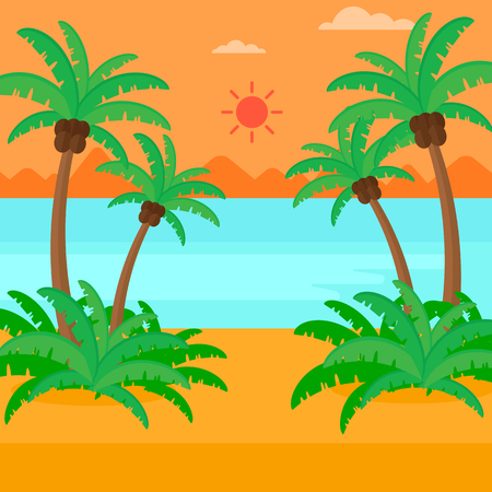 'palm trees': Background of tropical beach with palm trees and the sea vector flat design illustration. Square layout.