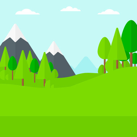 Background of green forest and mountains vector flat design illustration. Square layout.