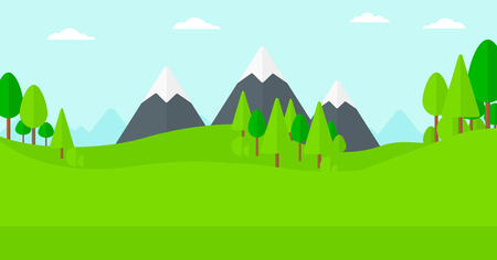 Background of green forest and mountains vector flat design illustration. Horizontal layout.