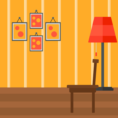 Background of living room vector flat design illustration. Square layout. Ilustração