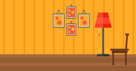 Background of living room vector flat design illustration. Horizontal layout.