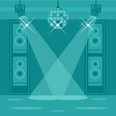 DAnce background: Background of night club vector flat design illustration. Square layout.