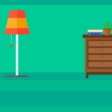 chest wall: Background of living room vector flat design illustration. Square layout. Illustration