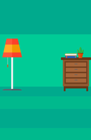 chest wall: Background of living room vector flat design illustration. Vertical layout. Illustration