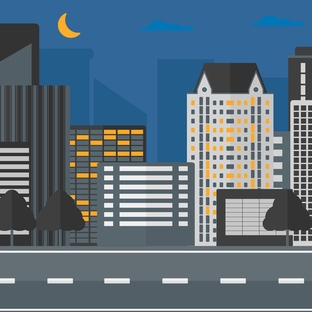 moon  metropolis: Background of the night city and a road vector flat design illustration. Square layout.