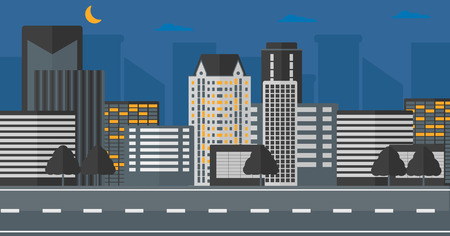 Background of the night city and a road vector flat design illustration. Horizontal layout. Çizim