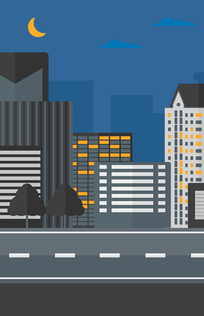 Background of the night city and a road vector flat design illustration. Vertical layout.