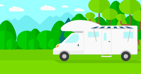 motorhome: Background of motorhome in the forest vector flat design illustration. Horizontal layout.