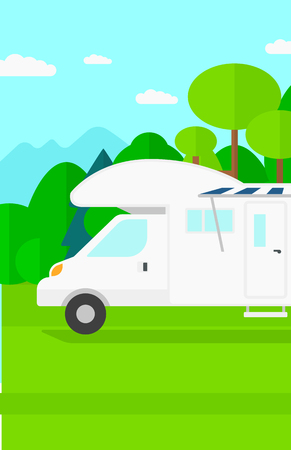 Background of motorhome in the forest vector flat design illustration. Vertical layout.