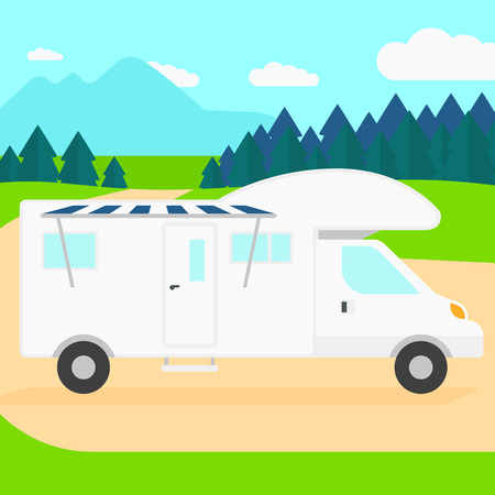 Background of motorhome in the forest vector flat design illustration. Square layout.