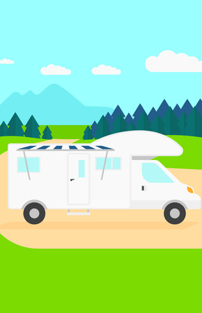 backgrounds trees: Background of motorhome in the forest vector flat design illustration. Vertical layout.