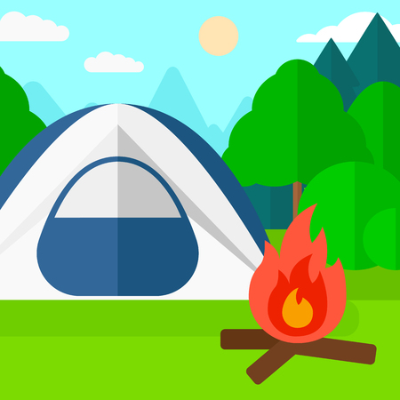 trees illustration: Background of camping site with tent vector flat design illustration. Square layout.