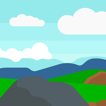 clouds cartoon: Background of hilly countryside vector flat design illustration. Square layout. Illustration