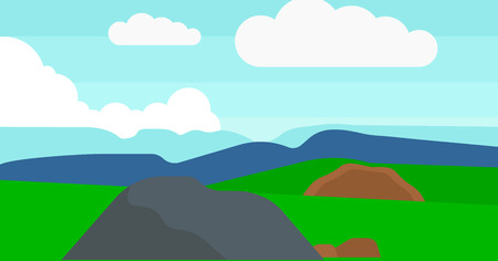 cartoon land: Background of hilly countryside vector flat design illustration. Horizontal layout. Illustration
