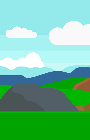 cartoon land: Background of hilly countryside vector flat design illustration. Vertical layout.