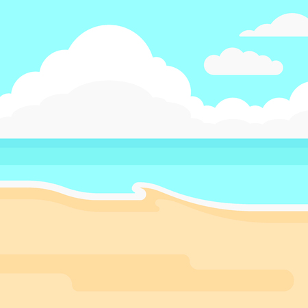 cartoon cloud: Background of sand beach with blue sea vector flat design illustration. Square layout.