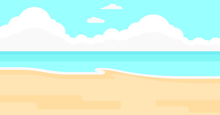 Background of sand beach with blue sea vector flat design illustration. Horizontal layout.