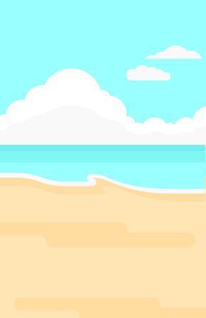 Background of sand beach with blue sea vector flat design illustration. Vertical layout. Фото со стока - 52009436