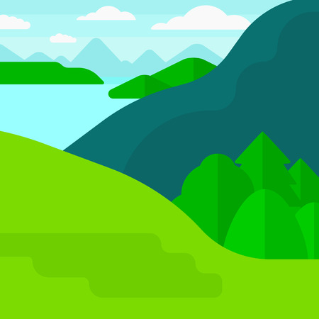 Background of landscape with mountains and lake vector flat design illustration. Square layout.