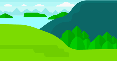trees  sky: Background of landscape with mountains and lake vector flat design illustration. Horizontal layout.