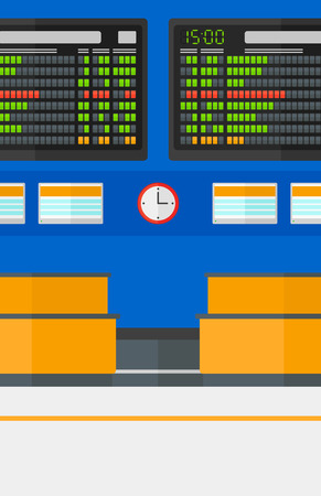 Background of schedule board in airport vector flat design illustration. Vertical layout. Illusztráció