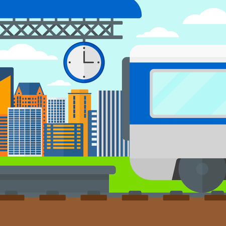 high speed rail: Background of train leaving the station vector flat design illustration. Square layout. Illustration