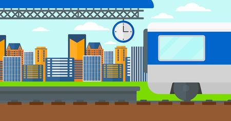 Antecedentes de tren que sale de la estación de ilustración vectorial diseño plano. disposición horizontal.