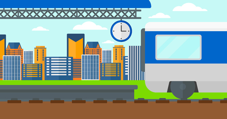 diesel train: Background of train leaving the station vector flat design illustration. Horizontal layout. Illustration