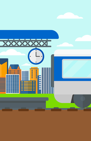 high speed train: Background of train leaving the station vector flat design illustration. Vertical layout.