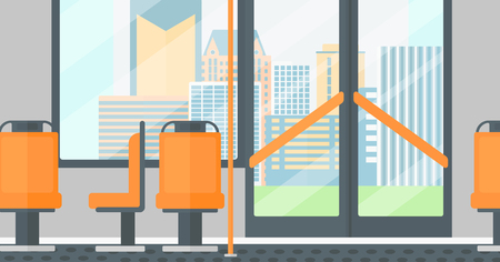 modern door: Background of modern empty city bus vector flat design illustration. Horizontal layout. Illustration