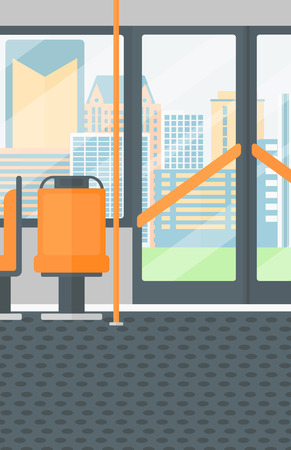 window view: Background of modern empty city bus vector flat design illustration. Vertical layout.