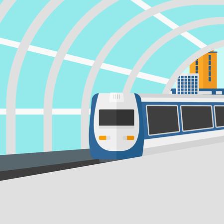 近代的な鉄道駅ベクトルの平らな設計図に到着の背景。正方形のレイアウト。