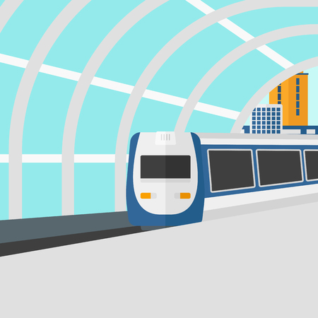 Background of modern train arriving at the station vector flat design illustration. Square layout.
