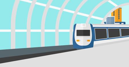 Antecedentes de tren moderno de llegar a la estación de ilustración vectorial diseño plano. disposición horizontal.
