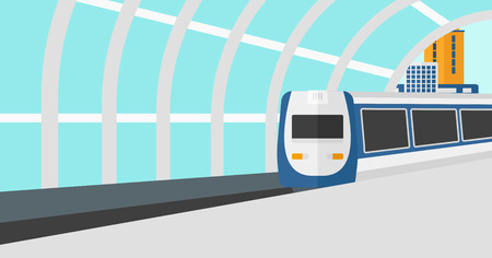 Background of modern train arriving at the station vector flat design illustration. Horizontal layout.