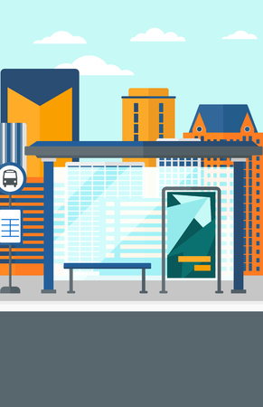 cartoon board: Background of bus stop with skyscrapers behind vector flat design illustration. Vertical layout. Illustration